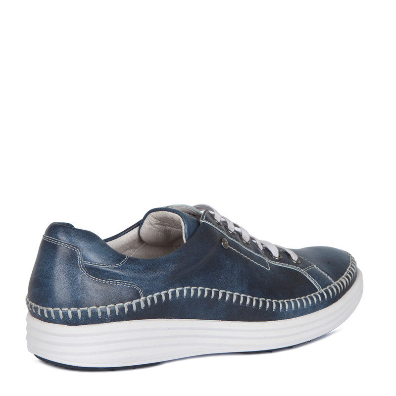 Moccasin Type Sneakers in Navy Leather | TJ COLLECTION | Side Image - 2