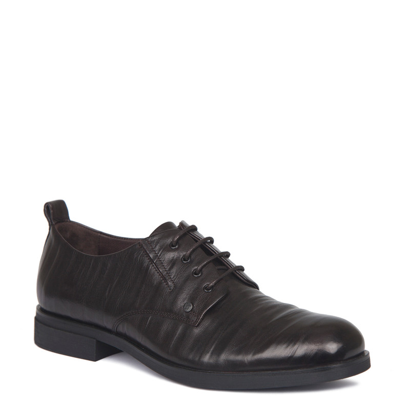 Derby Shoes in Dark Brown Texture Leather | TJ COLLECTION | Side Image - 1