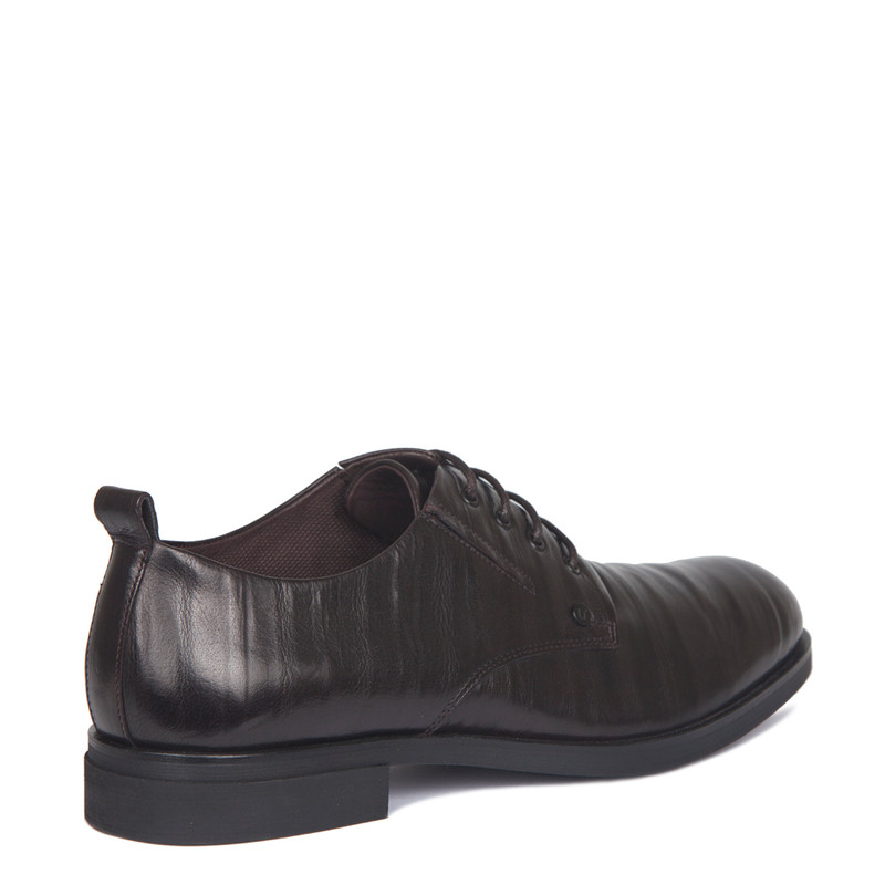 Derby Shoes in Dark Brown Texture Leather | TJ COLLECTION | Side Image - 2