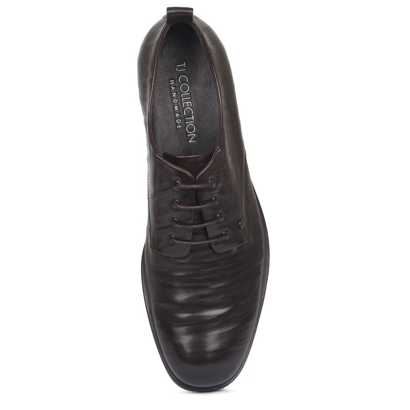 Derby Shoes in Dark Brown Texture Leather | TJ COLLECTION | Side Image - 3