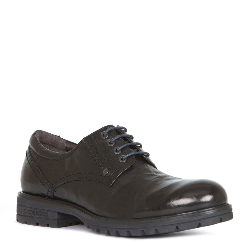 Derby Shoes in Black Washed Leather | TJ COLLECTION | Side Image - 1