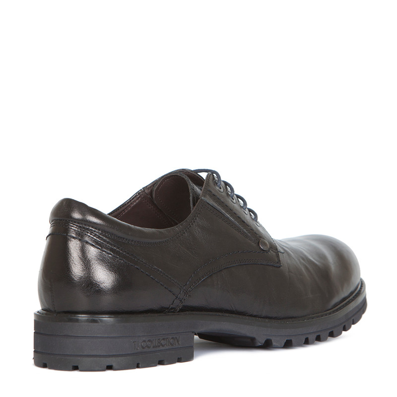 Derby Shoes in Black Washed Leather | TJ COLLECTION | Side Image - 2