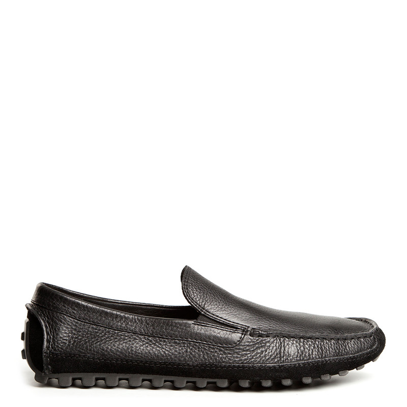 Men's Black Grained Leather Moccasins MP 7234114 BLI