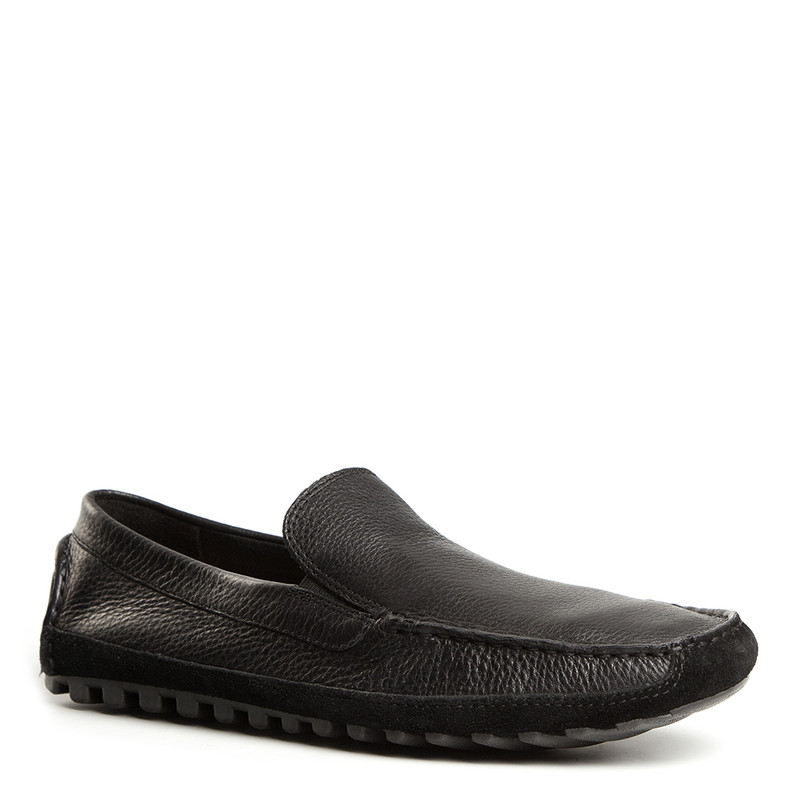 Moccasins in Black Grain Leather | TJ COLLECTION | Side Image - 1