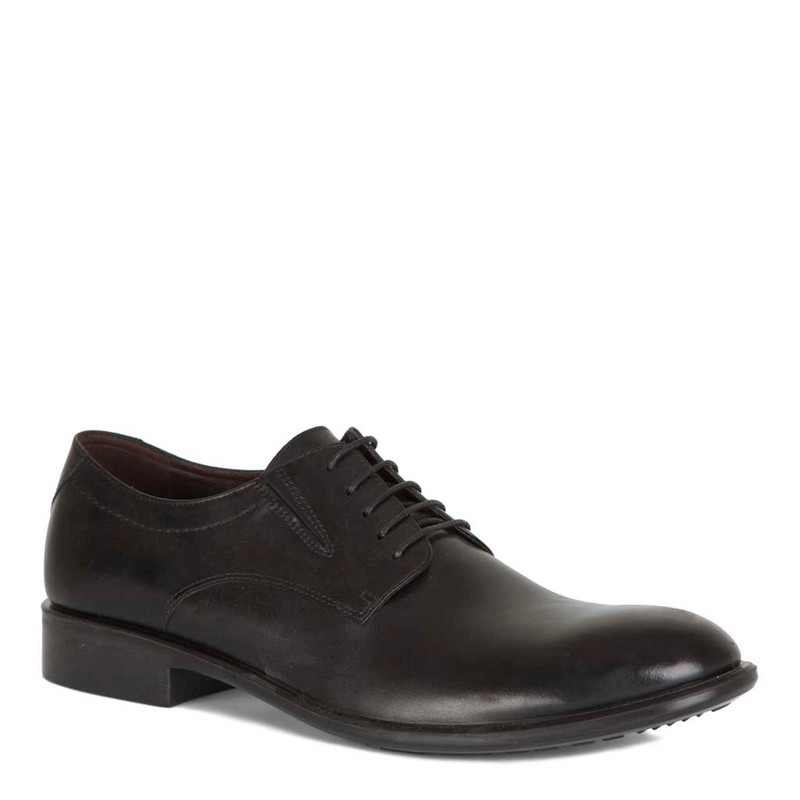 Classic Derbies in Black Leather   TJ COLLECTION   Side Image - 1