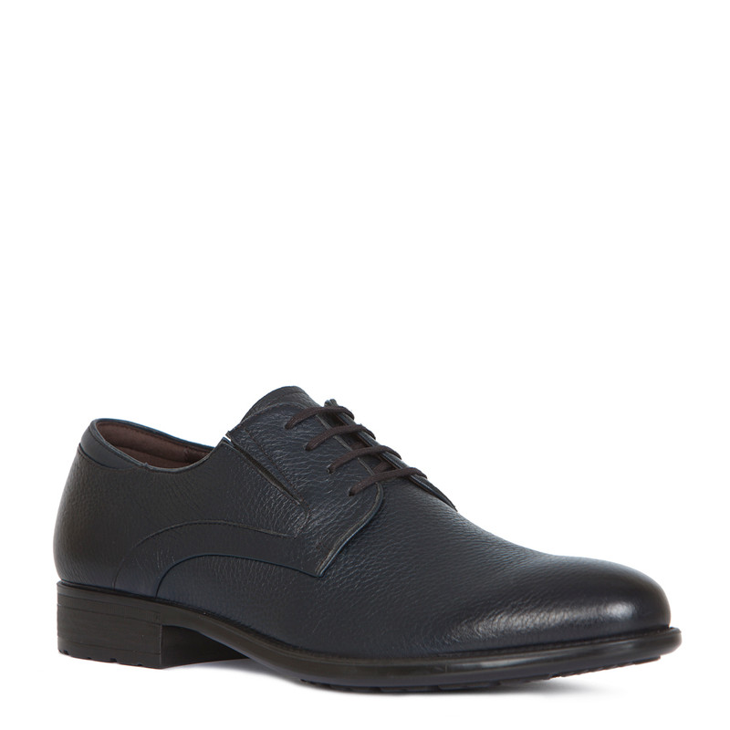 Classic Derby Shoes in Grain Navy Leather | TJ COLLECTION | Side Image - 1