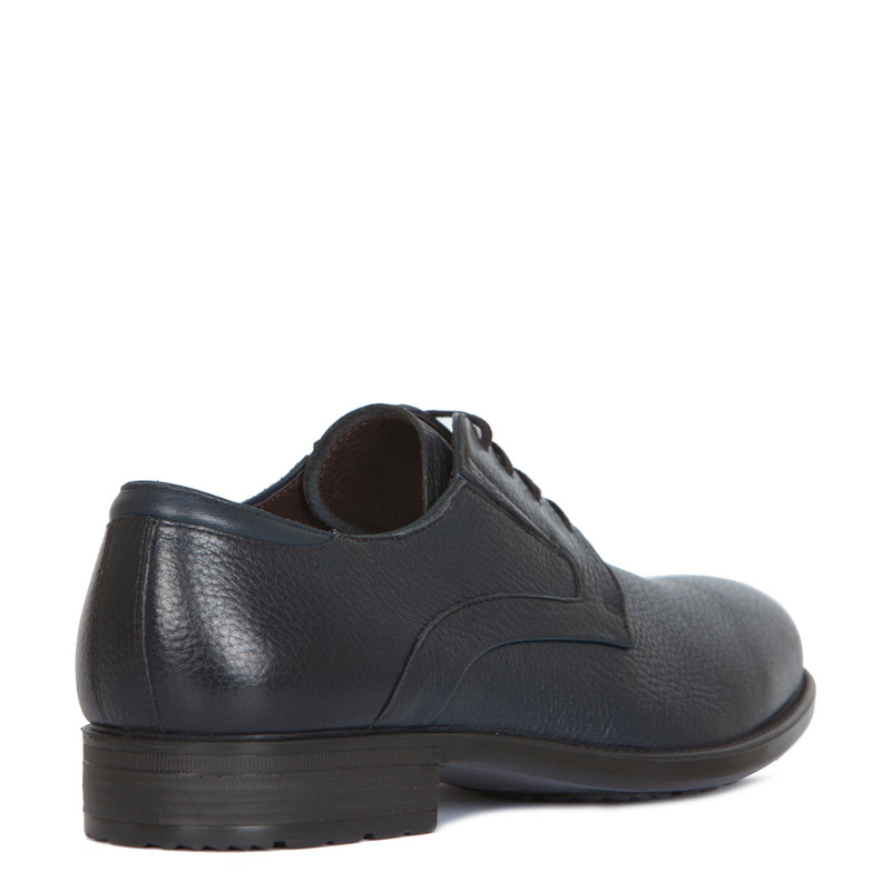 Classic Derby Shoes in Grain Navy Leather | TJ COLLECTION | Side Image - 2