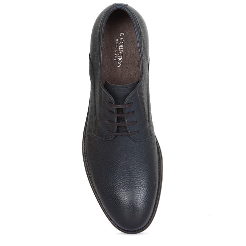 Classic Derby Shoes in Grain Navy Leather | TJ COLLECTION | Side Image - 3