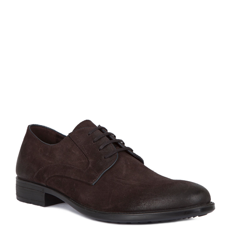 Classic Derby Shoes in Brown Suede | TJ COLLECTION | Side Image - 1