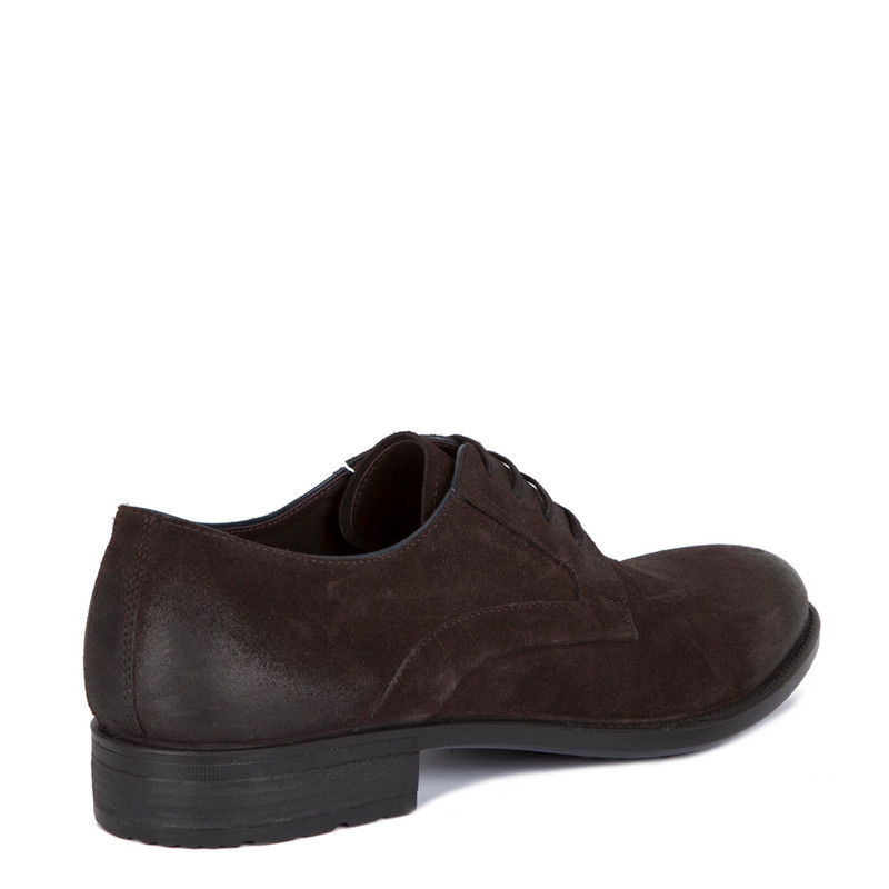 Classic Derby Shoes in Brown Suede | TJ COLLECTION | Side Image - 2