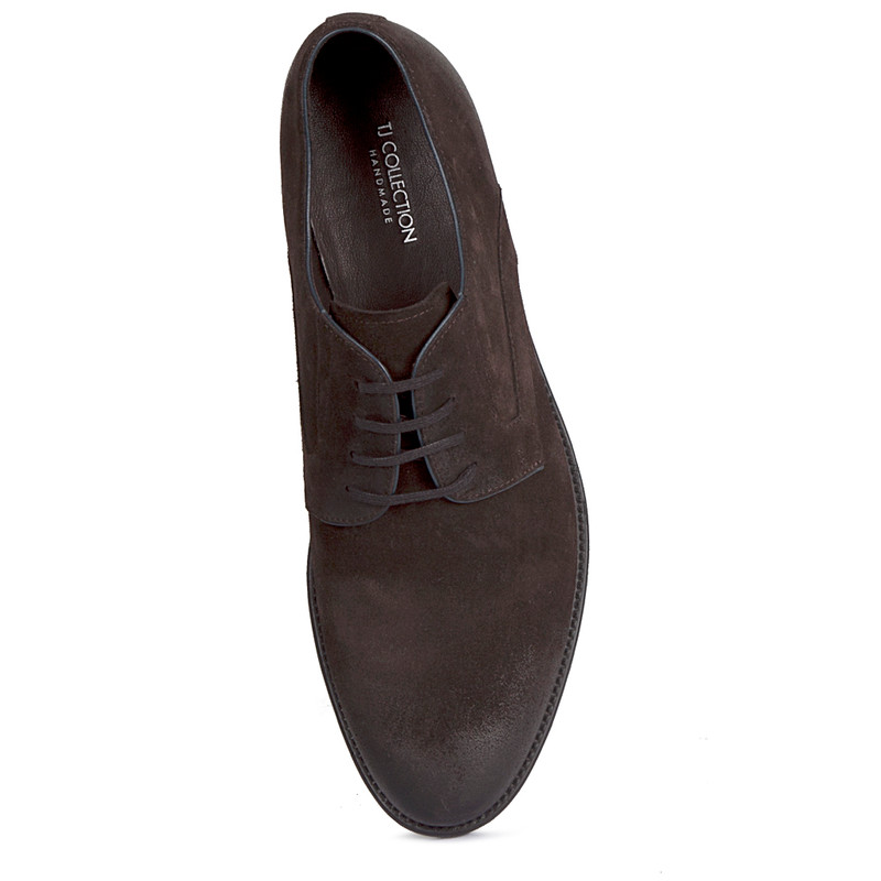 Classic Derby Shoes in Brown Suede | TJ COLLECTION | Side Image - 3