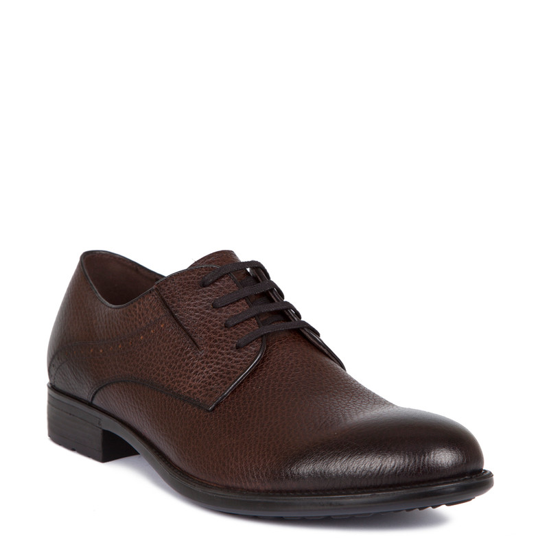 Derby Shoes in Brown Grain Leather | TJ COLLECTION | Side Image - 1