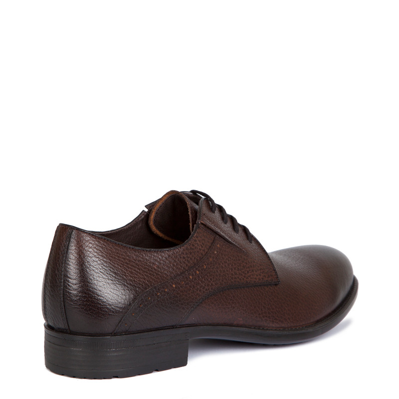 Derby Shoes in Brown Grain Leather | TJ COLLECTION | Side Image - 2