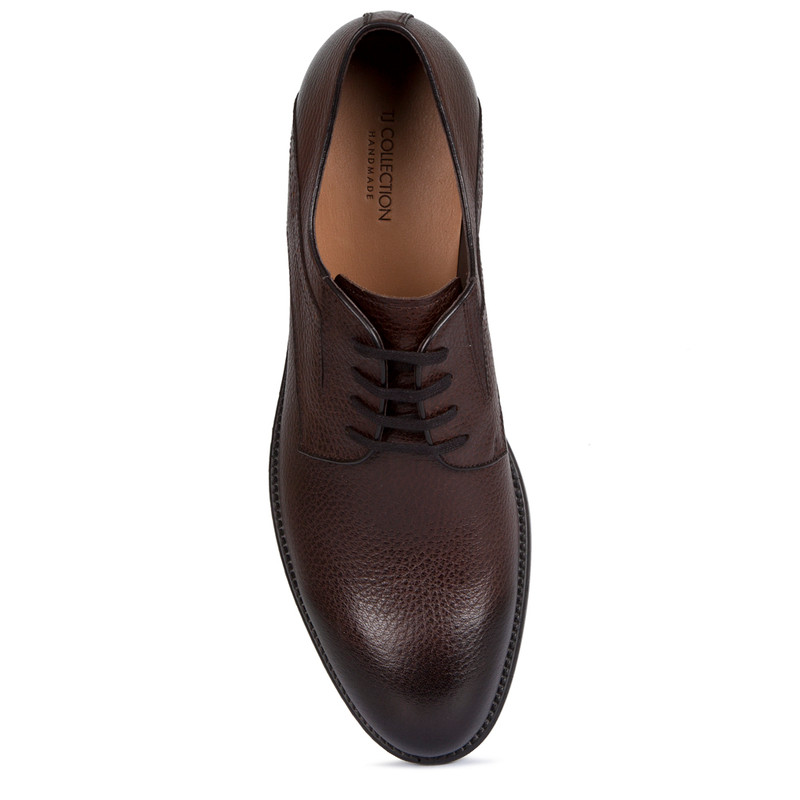 Derby Shoes in Brown Grain Leather | TJ COLLECTION | Side Image - 3