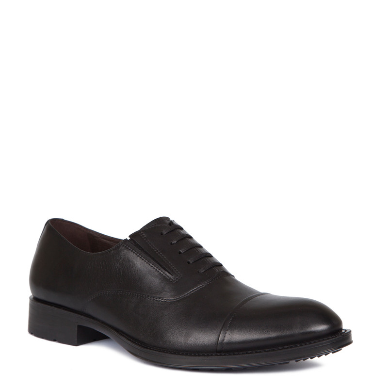 Oxford Shoes in Black Leather | TJ COLLECTION | Side Image - 1