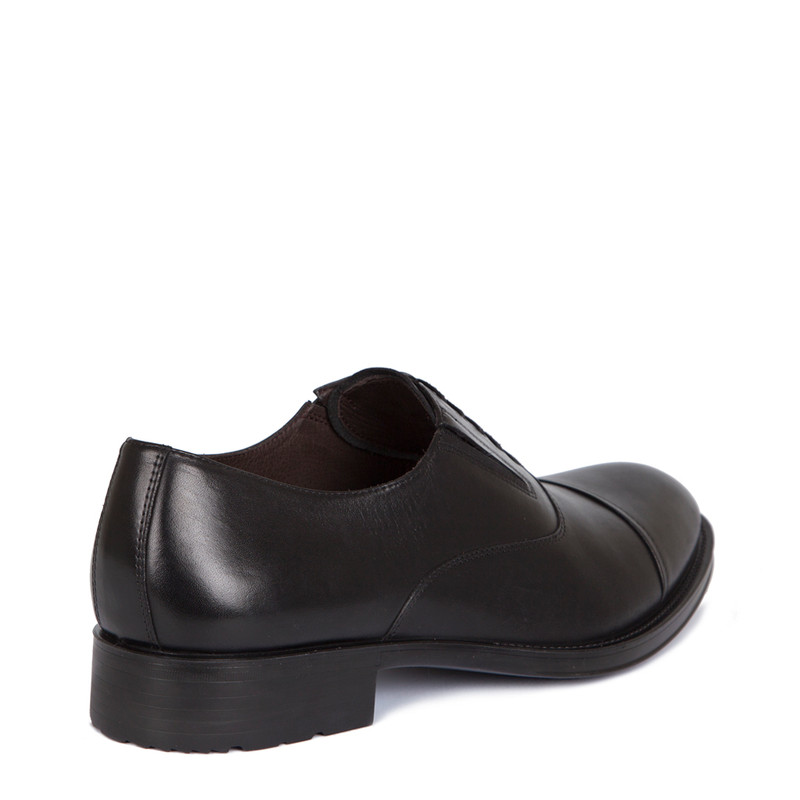 Oxford Shoes in Black Leather | TJ COLLECTION | Side Image - 2