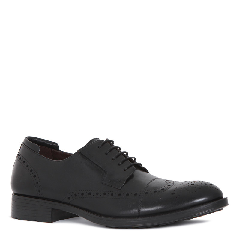 Classic Brogues in Black Leather | TJ COLLECTION | Side Image - 1