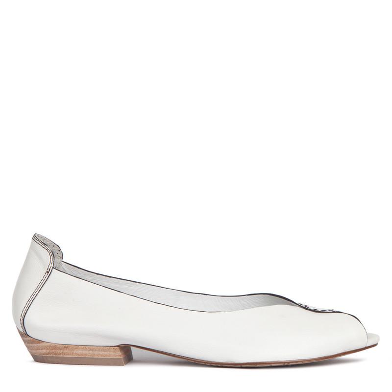 Women's Soft White Leather Peep-Toe Ballerinas GP 5101013 WHB