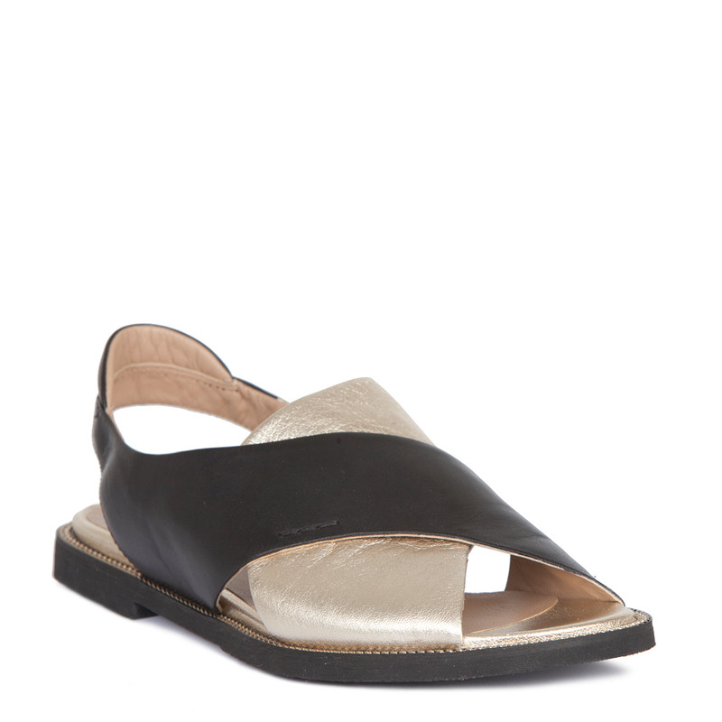 Sandals in Gold & Black Soft Leather   TJ COLLECTION   Side Image - 1