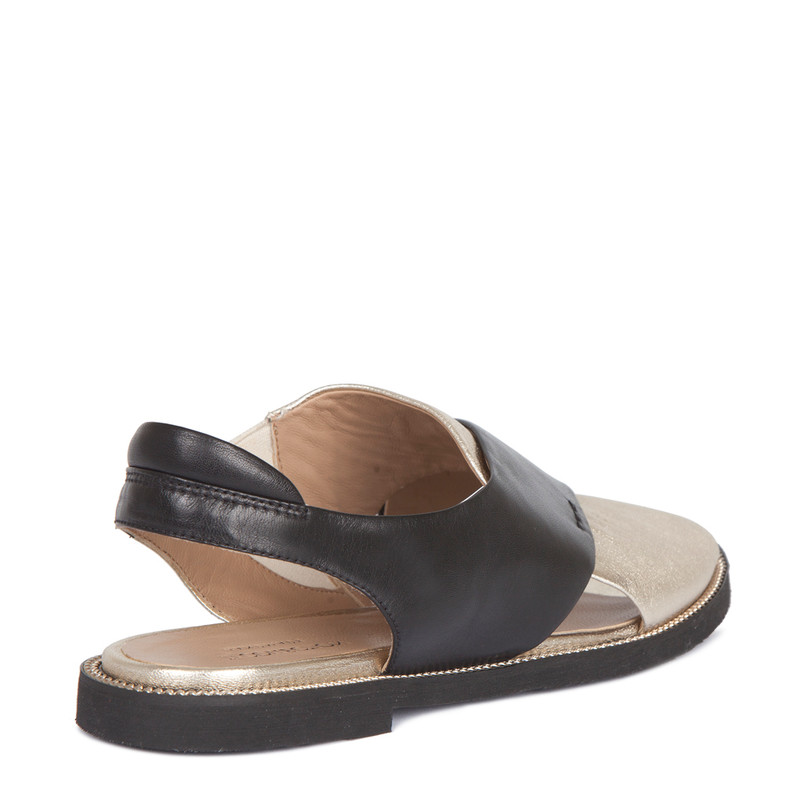 Sandals in Gold & Black Soft Leather   TJ COLLECTION   Side Image - 2
