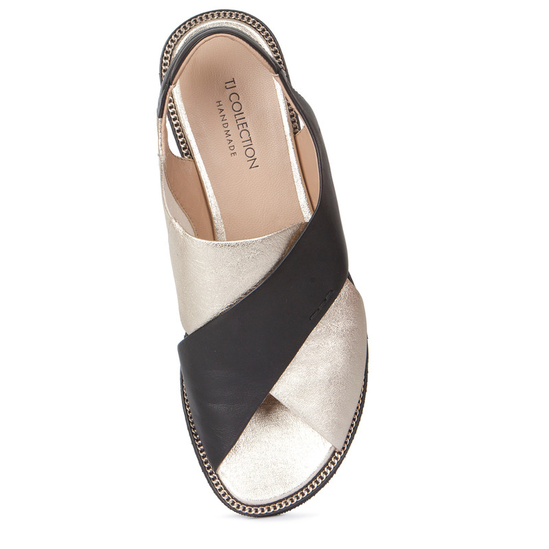 Sandals in Gold & Black Soft Leather   TJ COLLECTION   Side Image - 3