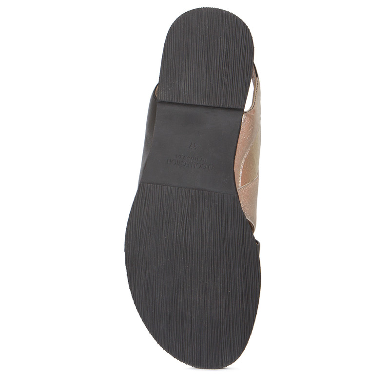 Sandals in Gold & Black Soft Leather   TJ COLLECTION   Side Image - 4