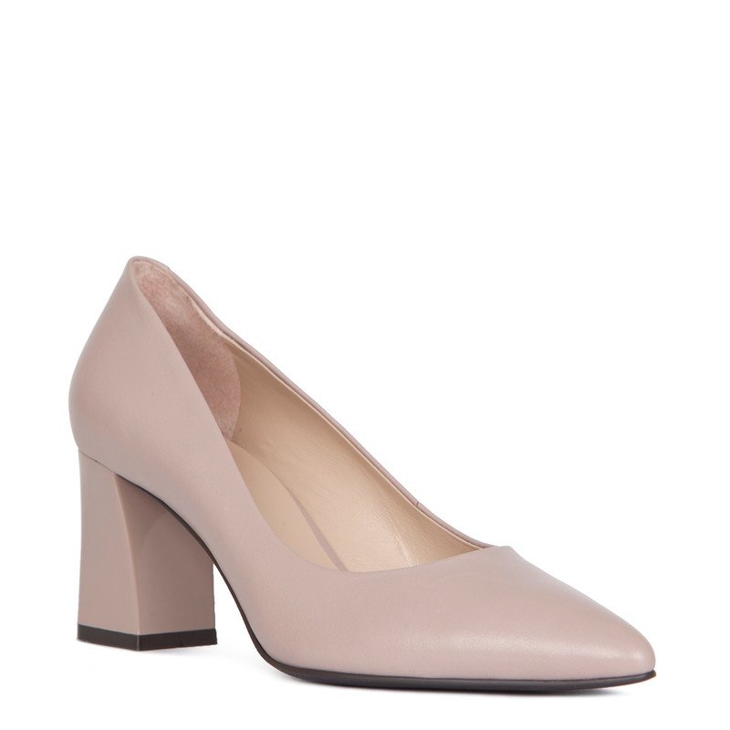 Block Heel Pumps in Taupe Leather | TJ COLLECTION | Side Image - 1