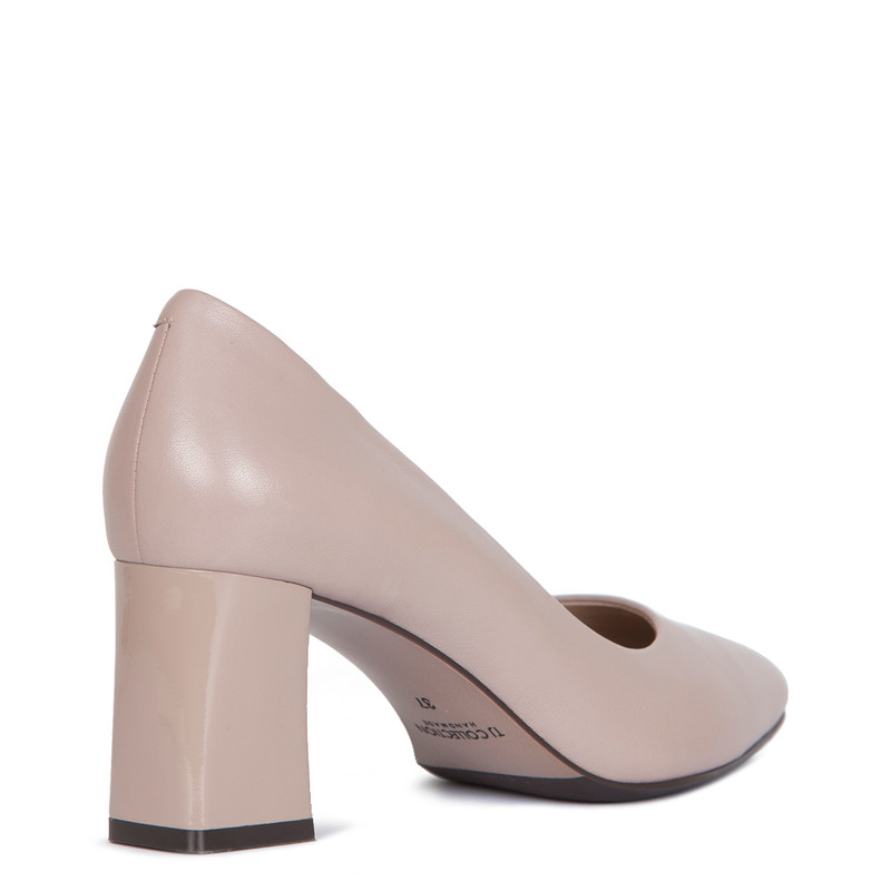 Block Heel Pumps in Taupe Leather | TJ COLLECTION | Side Image - 2