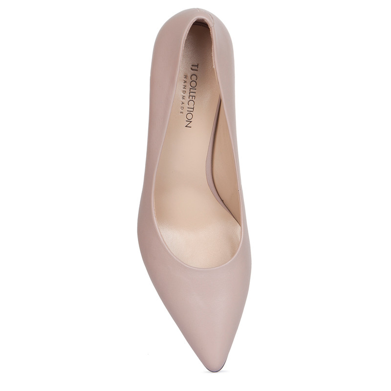 Block Heel Pumps in Taupe Leather | TJ COLLECTION | Side Image - 3