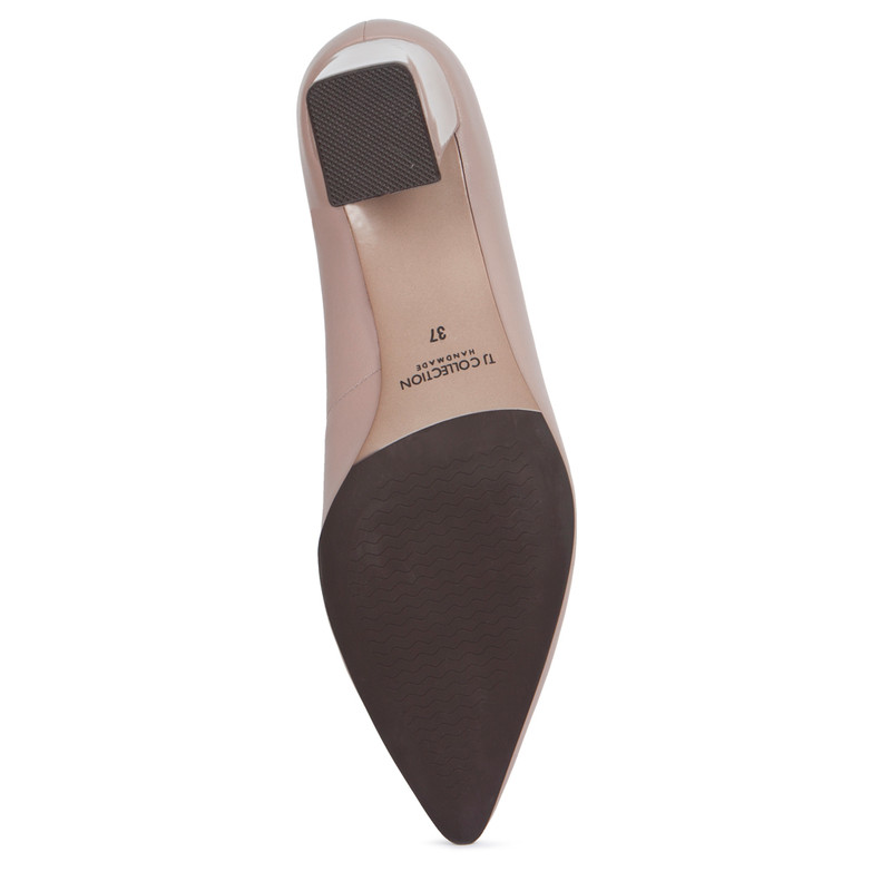 Block Heel Pumps in Taupe Leather | TJ COLLECTION | Side Image - 4