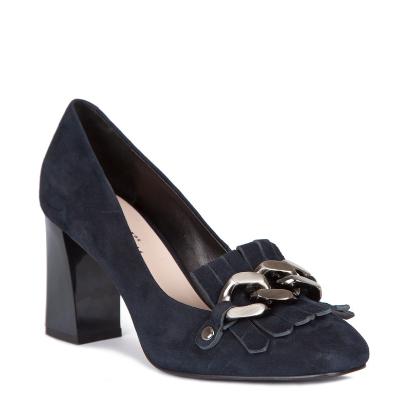 Block Heel Chain Trim Loafers in Navy Suede | TJ COLLECTION | Side Image - 1