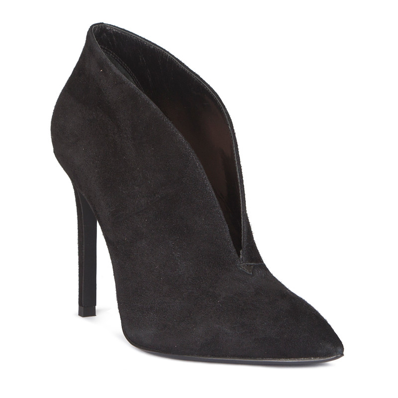 Stiletto Heel Ankle Boots in Black Suede | TJ COLLECTION  | Side Image - 1