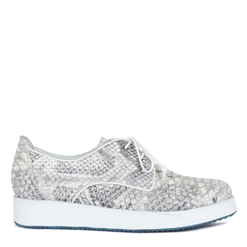 Platform Sneakers in Reptile Print Leather | TJ COLLECTION  | Main Image