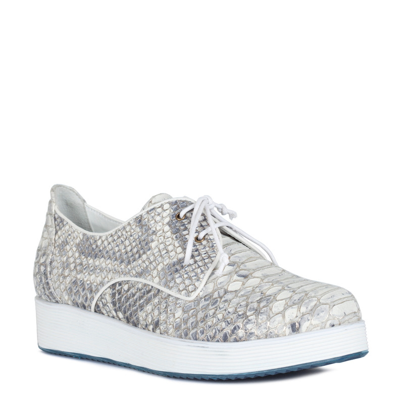 Platform Sneakers in Reptile Print Leather | TJ COLLECTION  | Side Image - 1