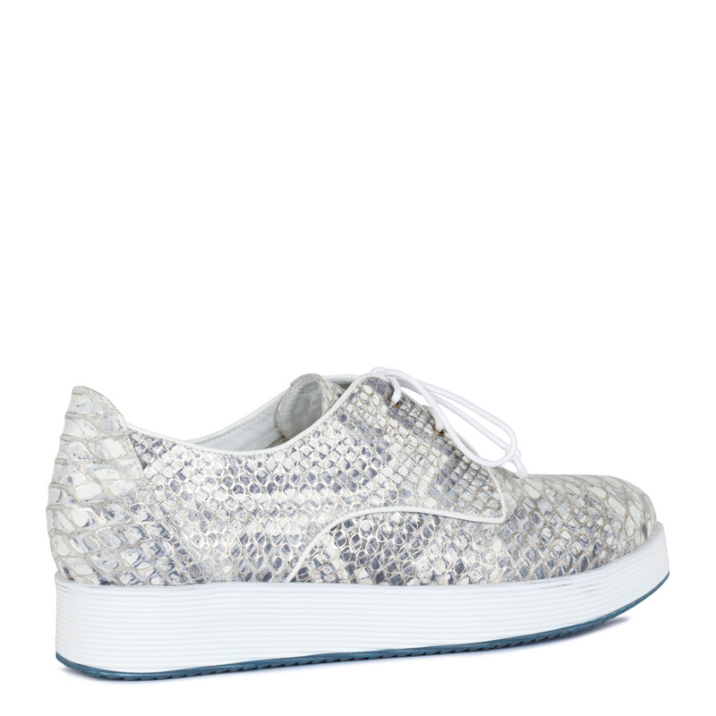 Platform Sneakers in Reptile Print Leather | TJ COLLECTION  | Side Image - 2