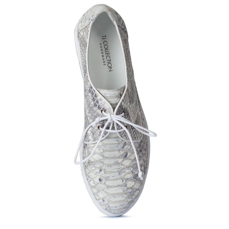 Platform Sneakers in Reptile Print Leather | TJ COLLECTION  | Side Image - 3
