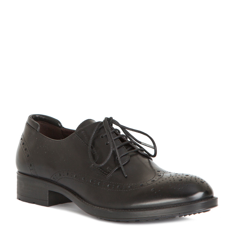 Classic Brogue Lace-Ups in Black Leather | TJ COLLECTION | Side Image - 1