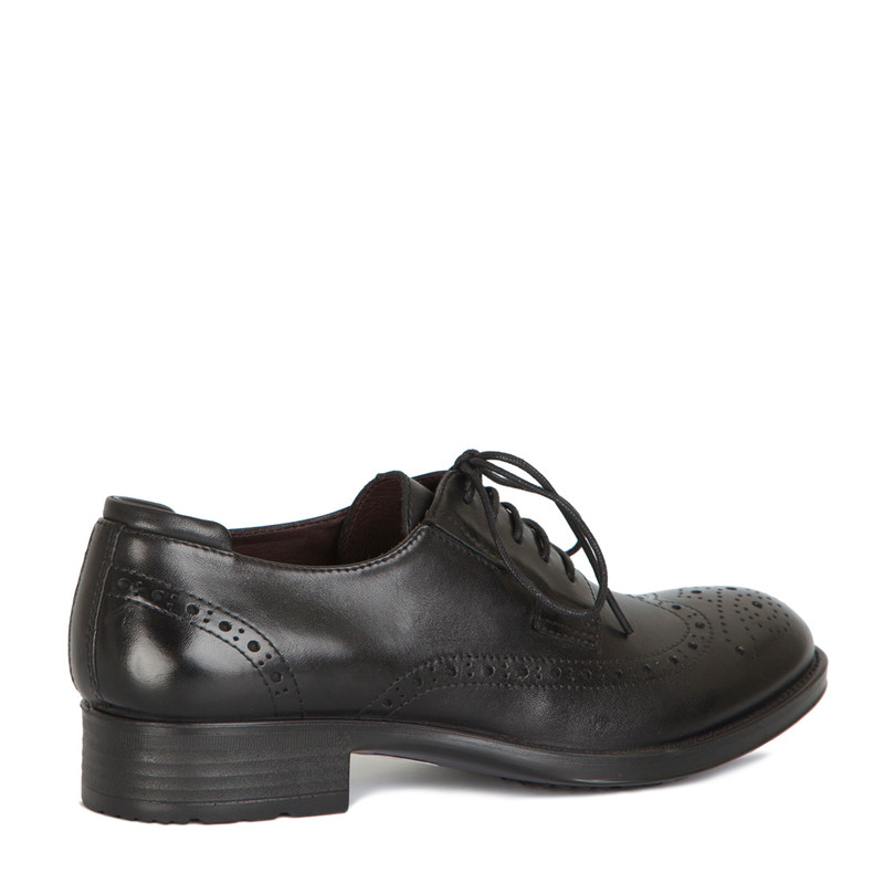 Classic Brogue Lace-Ups in Black Leather | TJ COLLECTION | Side Image - 2