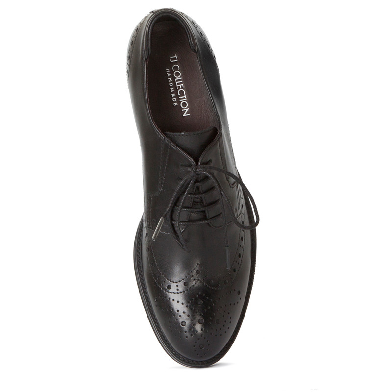 Classic Brogue Lace-Ups in Black Leather | TJ COLLECTION | Side Image - 3