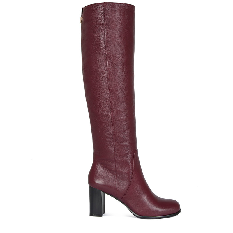 Over-The-Knee Boots in Grained Burgundy Leather   TJ COLLECTION   Side Image - 1