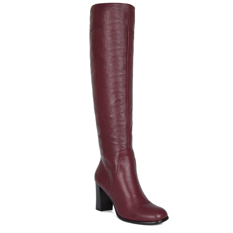 Over-The-Knee Boots in Grained Burgundy Leather   TJ COLLECTION   Side Image - 2