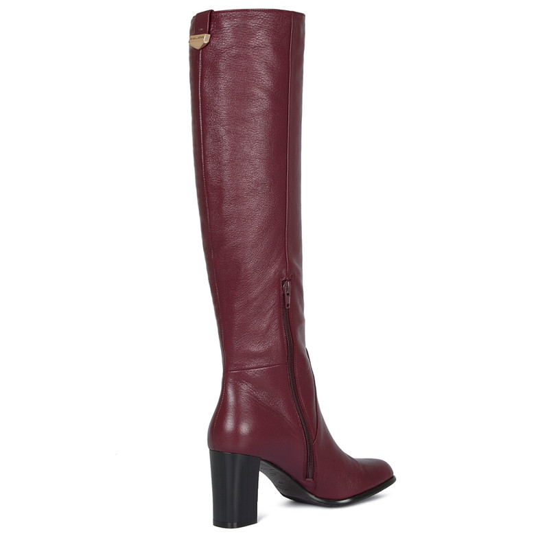 Over-The-Knee Boots in Grained Burgundy Leather   TJ COLLECTION   Side Image - 3