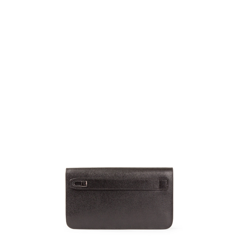 Black Textured Leather Clutch XH 8119913 BLK | TJ COLLECTION | Side Image - 2