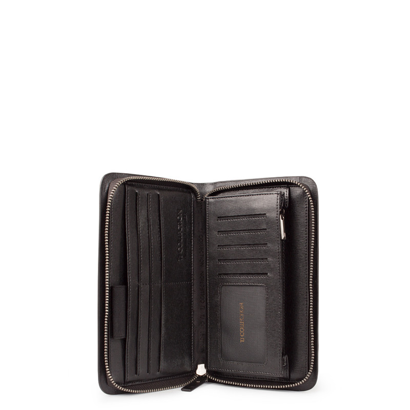 Black Textured Leather Clutch XH 8119913 BLK | TJ COLLECTION | Side Image - 3