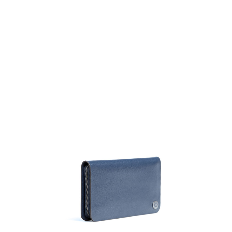 Blue Textured Leather Clutch XH 8119914 NVY   TJ COLLECTION   Side Image - 1