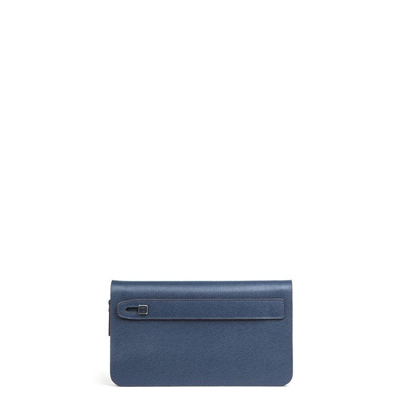 Blue Textured Leather Clutch XH 8119914 NVY   TJ COLLECTION   Side Image - 2