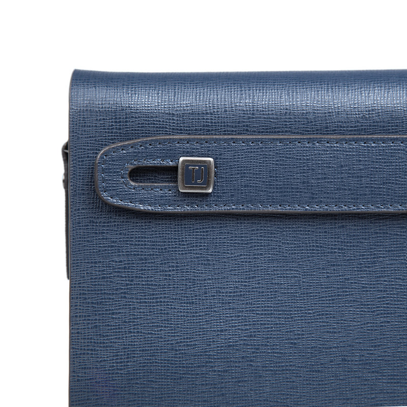 Blue Textured Leather Clutch XH 8119914 NVY