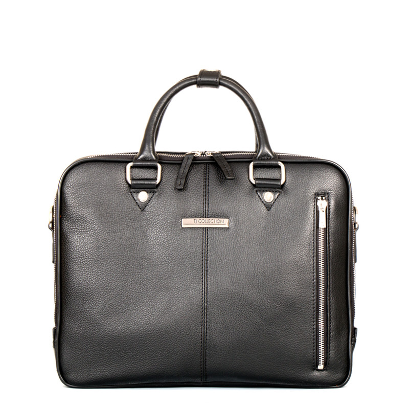 Black Grained Leather Business Bag Oxford YH 8431315 BLK