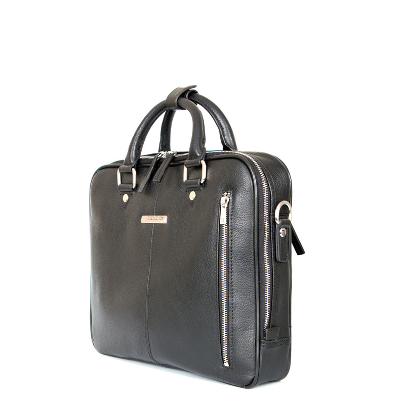 Black Grained Leather Business Bag Oxford YH 8431315 BLK | TJ COLLECTION | Side Image - 1