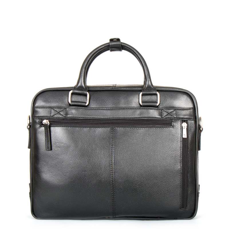 Black Grained Leather Business Bag Oxford YH 8431315 BLK | TJ COLLECTION | Side Image - 2